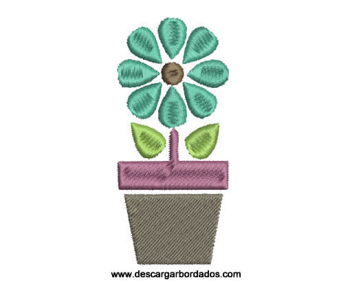 Lindo Bordado de Planta en Maceta