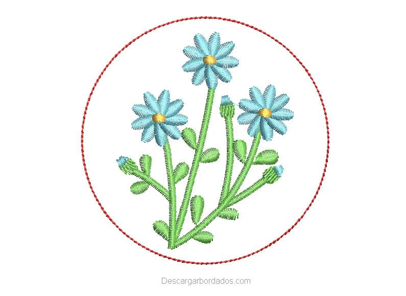 Diseño Bordado de Planta con Flores