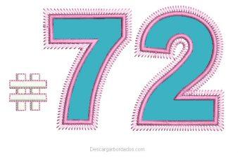Bordado Números 72 con Aplicación
