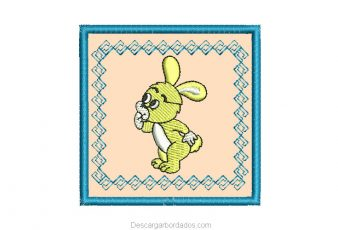 Lindo bordado de conejo con Aplicación