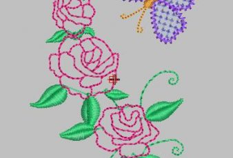 Descargar Bordado de Rosas con Mariposita