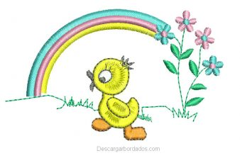 Diseño bordado de patito con arco iris