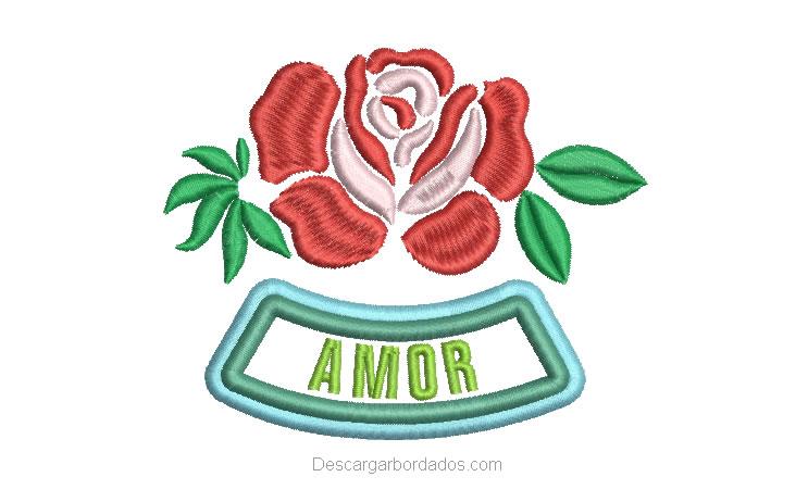 Bordado de Rosas con letra Amor
