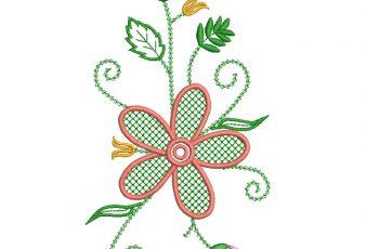 Bordado de flores con Hojas Verdes