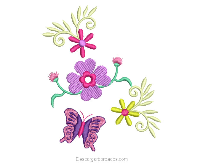 Diseño bordado de flores con mariposa