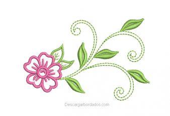 Diseño Bordado de Flores con Ramas