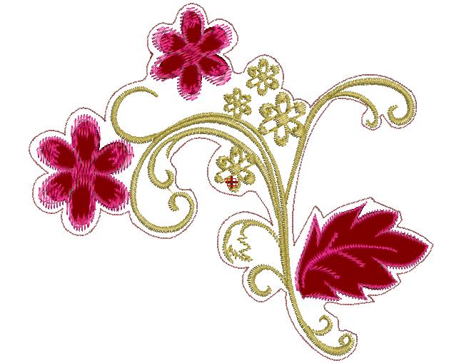 Descargar Bordados Gratis: Flores Contorneados para Aplicación ...