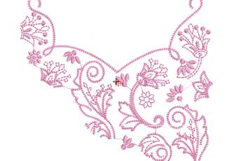 Descargar bonito bordado de hojas con flores