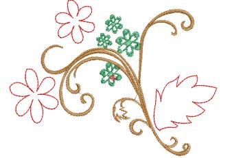 Descargar Bordados: Ramas de Flores Contorneado