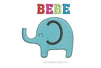 Diseños de elefante con letra para bordar