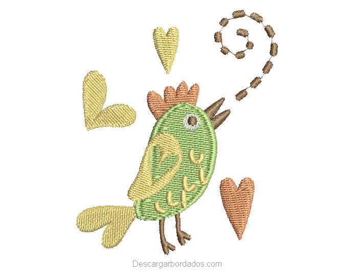 Bonito diseño bordado de gallo