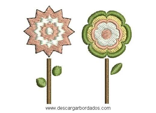 Bonito Diseño de Flores Listo para Bordar