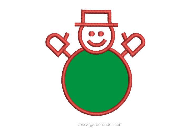 Diseño bordado muñeco de nieve
