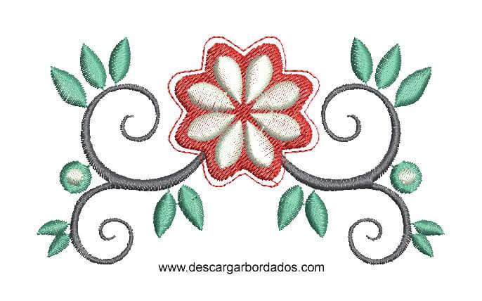 Diseño Bordado de Hojas de Flores