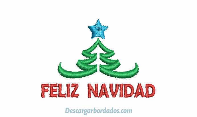 Diseños bordado de Feliz Navidad con árbol de Navideño