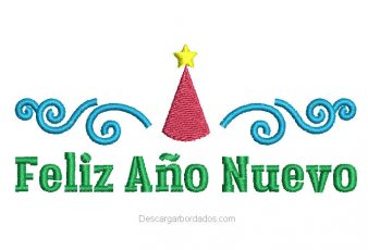 Diseño Bordado de Letra Feliz Año Nuevo