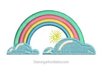 Diseño Bordado de Arcoíris para Bordar