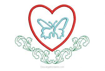Bordado de Corazón con Mariposa Gratis