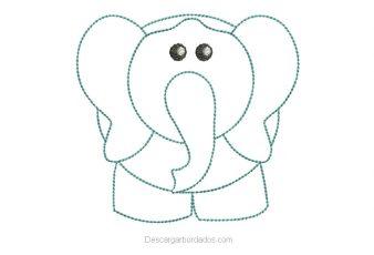 Diseño Bordado de Elefante Delineado para Bordar