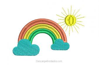 Descargar Diseño bordado de Arco Iris