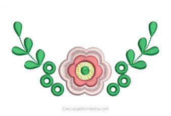 Diseño Bordado de Flores con Hojas