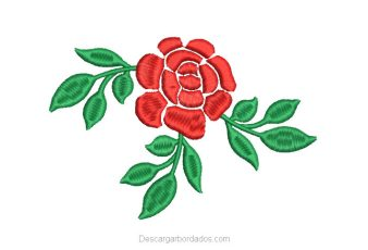 Diseño Bordado de Rosas con Hojas