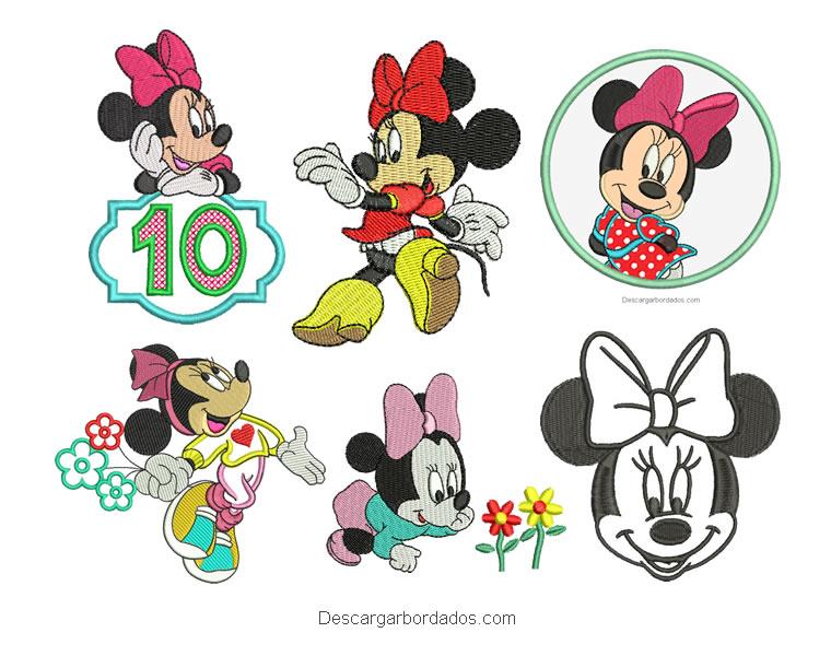 6 Diseños Bordados de Minnie Mouse