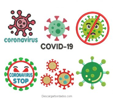 6 Diseños bordados de coronavirus covid-19