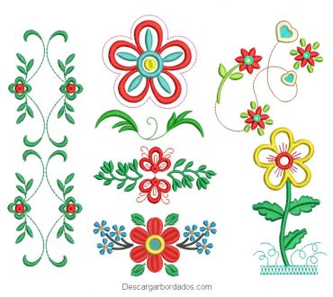 6 Diseños de flores para bordado a máquina