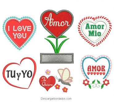 bordados de corazón con frases de amor
