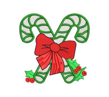 Bastón de caramelo para Navidad Diseños de Bordado