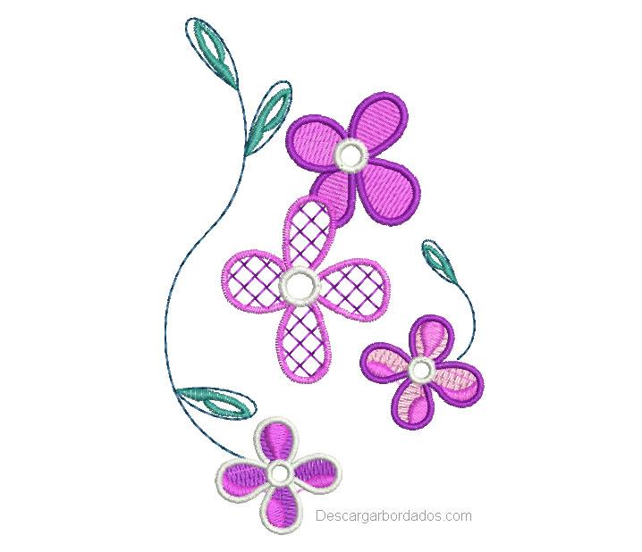 Bonito Diseño Bordado de Flores