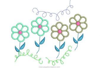 Descargar Diseño de Cuatro Hermosas Flores