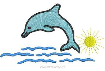 Descargar Diseño Bordado delfín en la playa