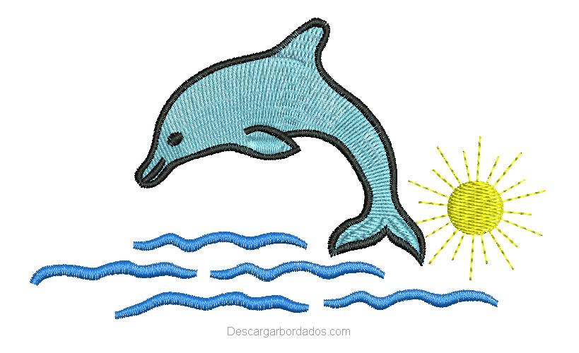 Bonito Diseño Bordado delfín en la playa