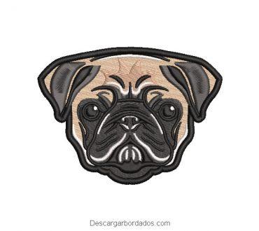 Bonito diseño bordado rostro de perro