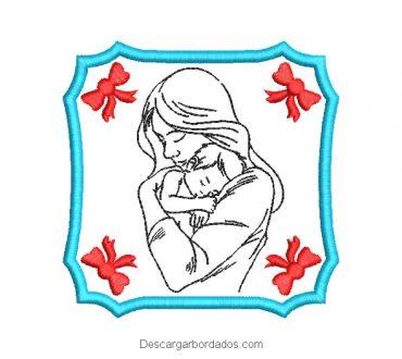 Bordado Cuadro de Mamá con Bebé