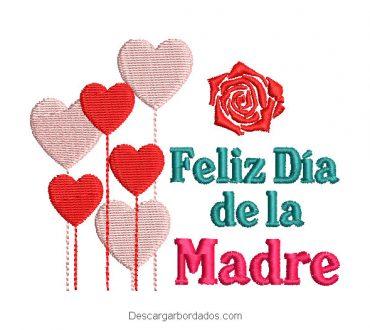 Bordado Feliz día de la madre con rosas