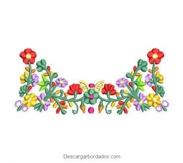 Bordado Flores de Colores con Ramas y Hojas