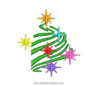 Bordado árbol de navidad con estrellas de colores