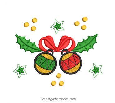 Bordado bolas de navidad con decoración
