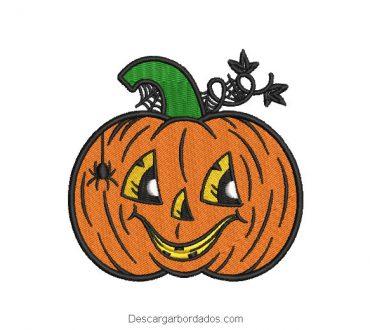 Bordado calabaza de halloween sonriente
