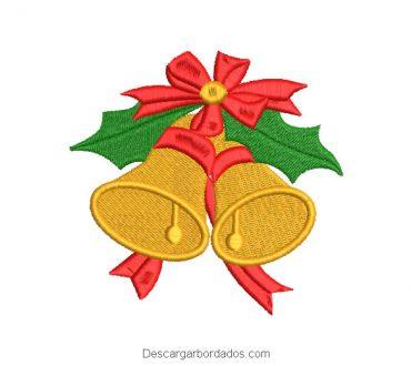 Bordado campana de navidad con lazo rojo