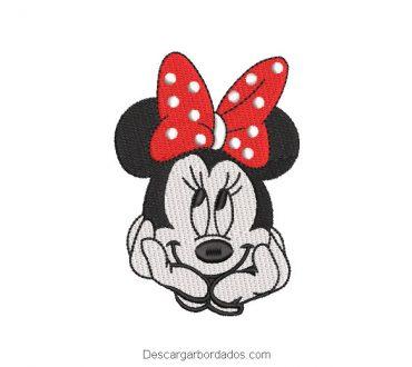 Bordado caritas de mickey mouse pensativa