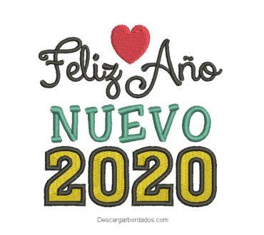 Bordado de Feliz Año Nuevo 2020 con Corazón