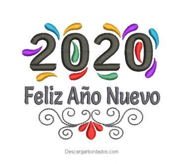 Bordado de Feliz Año Nuevo 2020 con decoración