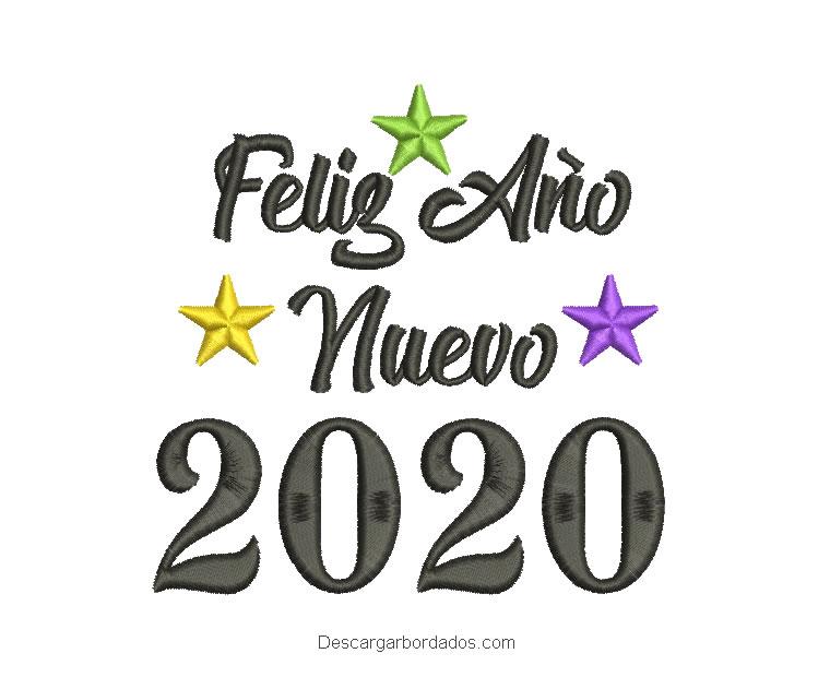 Diseño Bordado de Feliz Año Nuevo 2020 con estrella