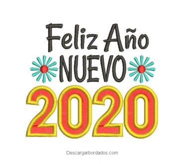 Diseño Bordado de Feliz Año Nuevo 2020 con flores