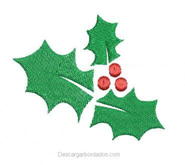 Bordado de Hojas de acebo para navidad
