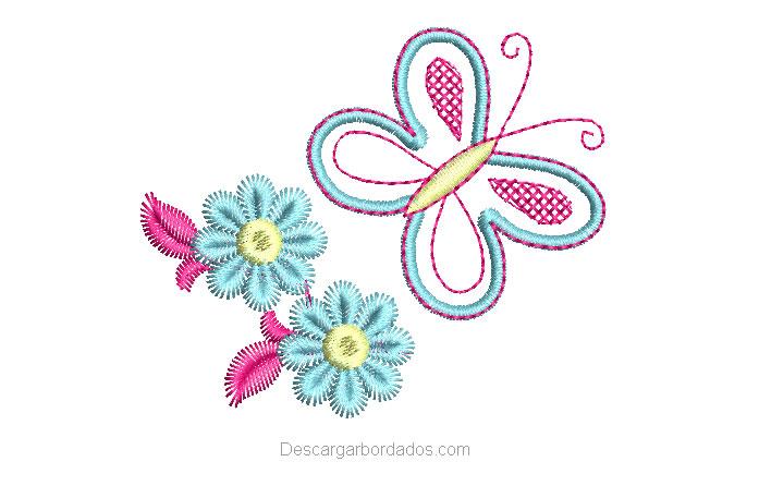 Bordado de Mariposa con Flores